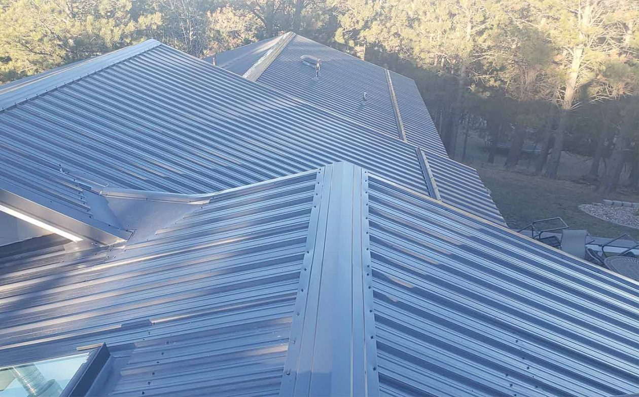 A metal roof after we replaced the shingles that were on it