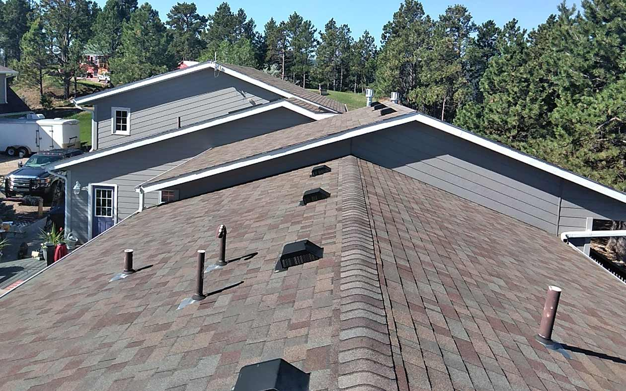 Shingles on the top of a roof